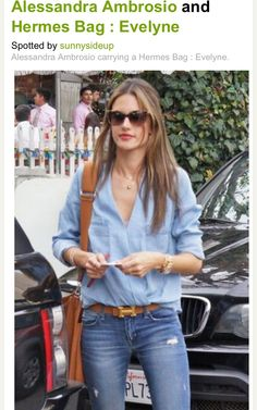 Alessandra Ambrosio with HERMES belt and Evelyne bag.