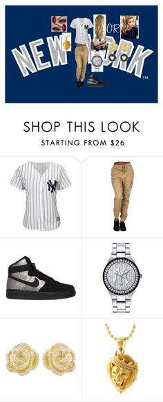 """""""love the New York Yankees"""" by lauraissweetandawesome on Polyvore featuring Majestic, NIKE, Game Time, Effy Jewelry, King Ice, Brooks Brothers, women's clothing, women's fashion, women and female"""