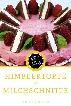 Ein Muss für alle Milchschnitte-Liebhaber! Eine prächtige Torte mit Himbeeren und Milchschnitte. Ein echter Hingucker!