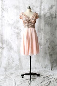 Cocktail Dress, Rose Gold Sequin Chiffon Bridesmaid dress, Cap Sleeves Wedding dress, Short Sequin dress, Party dress, V neck Formal Dress
