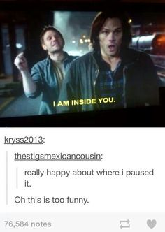 Supernatural fandom | Lucifer and Sam I ship none of these beautiful people, but OMG, it's too funny not to repin! XD
