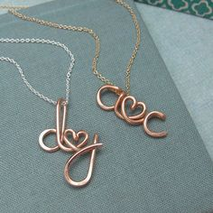 Two Lovers-Rose Gold Personalized Initials Necklace
