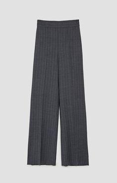 Grey pinstripe trousers   Zara