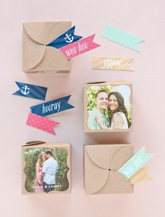 DIY - Kraft favor boxes with photos adhered and party flags Wedding Favor Boxes, Diy Wedding Favors, Wedding Ideas, Baby Shower Party Favors, Baby Shower Centerpieces, Creative Gift Wrapping, Creative Gifts, Wrapping Ideas, Pretty Packaging
