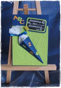 Glückwunschkarte/Einladungskarte Einschulung von BASTELWUETIG auf DaWanda.com Abc Party, Something To Remember, C2c, Stamping Up, Kindergarten, Invitation Cards, Back To School, Baby Kids, Projects To Try