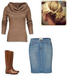 Jean skirt, brown sweater, brown boots :) I can wait for fall!!!💚💚💜