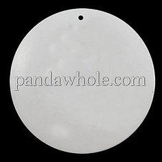 Wooden Pendants, Fancy Printing, Flat Round, 50x5mm, Hole: 1mm
