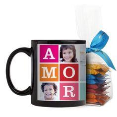 Amor Mug, Black, with Ghirardelli Minis, 11 oz, Blue