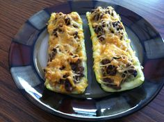 Bison Stuffed Zucchini Boats- substitute beef or turkey