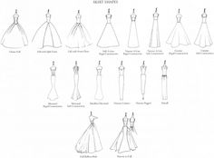 Everything you ever wanted to know about wedding dress silhouettes types of skirt shapes for wedding dresses junglespirit Image collections