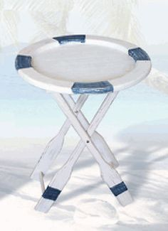 NAUTICAL WOODEN FOLDING LIFE RING TABLE WITH OAR LEGS