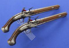 Dutch Turn-Over Flintlock Pistols by Jan Knoop Utrecht, circa 1670, caliber 12.5 mm