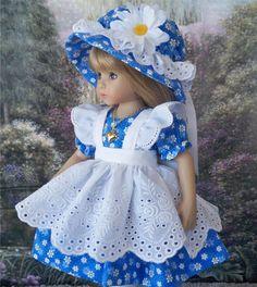 "**Beautiful Blue** Dress Pinafore Hat etc. for 13"" Effner Little Darling Dolls"