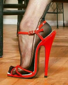 Red High Heel with nyloned feet, awesome! #redheels #nylons #stockings #heels #feet