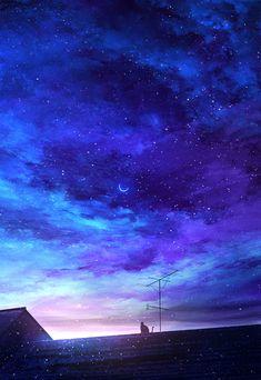 night sky me Night Sky Wallpaper, Anime Scenery Wallpaper, Galaxy Wallpaper, Wallpaper Backgrounds, Blue Sky Wallpaper, Wallpaper Art, Laptop Wallpaper, Landscape Wallpaper, Pattern Wallpaper