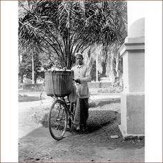 A baker in a bike in Medan circa 1940.