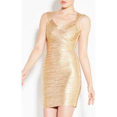 Herve Leger Iman Foil Bandage Dress ($1,350) via Polyvore featuring dresses, beige dress, herve leger dress, criss cross dress, beige cocktail dress and sleeveless v neck dress