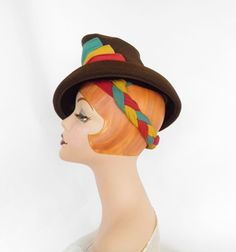 1940s tilt hat brown with multicolored backstrap by TheVintageHatShop on Etsy