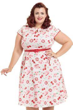 da0f618aee8b Voodoo Vixen Mid Century Rockabilly White Red Cherry Basket Hilda Flare  Dress L  VoodooVixen