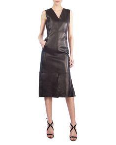 Sleeveless+Leather+V-Neck+Dress+by+Akris+at+Bergdorf+Goodman.