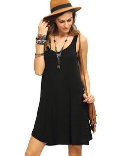 ROMWE Women's Sleeveless Summer Swing Tank Sundress Black S