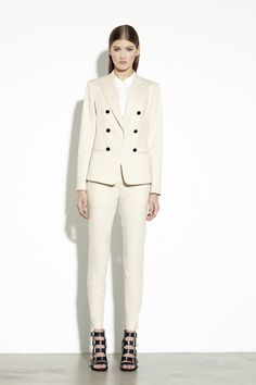 DKNY PFa2013 Look 2  Neutrals. Raise the hem on the trouser, cuff the blazer sleeves, and unbutton blouse collar and I am in love.