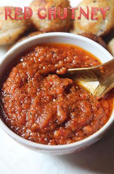 Easy Onion Tomato Chutney Recipe / Red Chutney for Idli & Dosa - Yummy Tummy Onion Tomato Chutney Recipe, Easy Chutney Recipe, Indian Chutney Recipes, Indian Food Recipes, Vegetarian Recipes, Healthy Recipes, Tomato Chutney For Idli, Easy Veg Recipes, Indonesian Recipes
