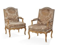 Pair of French Regence period fauteuils a la Reine Antique Furniture, 18th Century, Period, Accent Chairs, Armchair, Carving, Pairs, French, Antiques