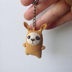 Mustard crochet bunny keychain amigurumi bag charm от LozArts