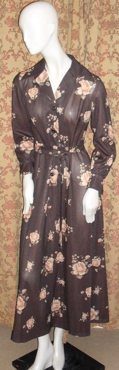 Check out this item in my Etsy shop https://www.etsy.com/uk/listing/249959390/1970s-brown-maxi-with-peach-rose-print