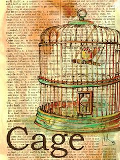 Cage Mixed Media Drawing on Distressed, Dictionary Page  flying shoes art studio