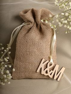 Natural Rustic Burlap Wedding Favor Bag , Wedding Favor Bags , County Style Bag, Custom WoodTag on Etsy, $3.00
