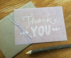 Thank You Card  Handlettered by ellolovey on Etsy, $4.00