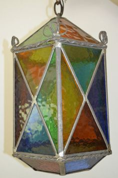 Antique Leaded Stained Glass Lantern | eBay