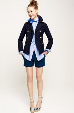 JCrew spring: Oxford / Peacoat / silk neck scarf