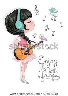 llustration girl vector listening to music on headfhones.Template for design cards, notebook, shop, poster - compre este vetor na Shutterstock e encontre outras imagens. Cute Girl Illustration, Music Illustration, Illustrations, Girl Symbol, Coffee Doodle, Book And Frame, Pics For Dp, Music Drawings, Cross Stitch Art