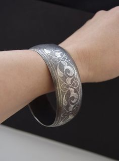 DAMASCENE SILVER SWIRLS vintage Berber bangle Meknes
