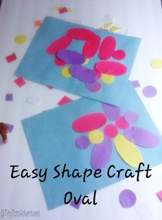54364f7e0ae5 Easy Shap Craft  Oval Make a pretty picture with the shape oval. Great for  toddlers learning their shapes and preschoolers getting creative with a  shape