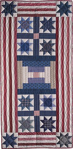 "Stars and Stripes Forever, 25 x 52"", quilted table runner or banner, pattern by Norma Whaley  at Timeless Traditions"