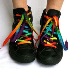 rainbow shoe laces from colourbazaar on etsy $5
