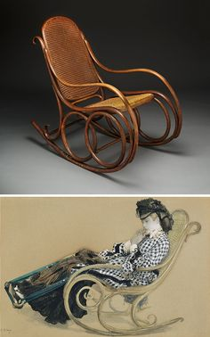 Rocking chair, Thonet Brothers, about 1904, Dallas Museum of Art (top). Young Woman in a Rocking Chair, Jacques Joseph Tissot, about 1873, Getty Museum (bottom)