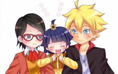 Sarada, Himawari, and Bolt [by EmiMurasaki.deviantart.com]
