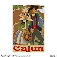 Cajun Couple with Oaks Poster