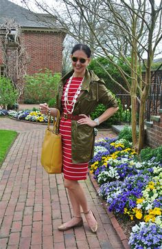 April 29, 2013 http://www.akeytothearmoire.com/post/49175327165/time-for-tulips #red #raincoat #trench coat #white #mother of pearl #olive green #yellow #Coach #Ralph Lauren #Hurley #Cole Haan #Anne Klein #Frye #metallic #gold shoes #ankle strap #flats #casual #vacation #Williamsburg #chic #feminine #classic #preppy #braid #headband