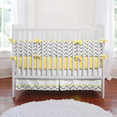 yellow and gray chevron bedding for the nursery