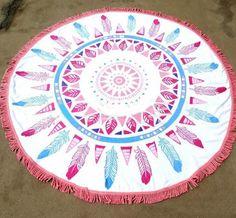 Mandala Round Tassel Tapestry Indian Ombre Beach Towel Blanket Yoga Mat