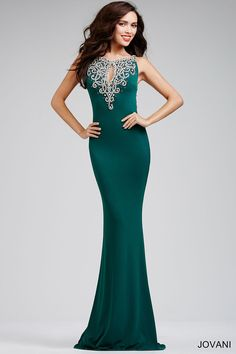 Green Jersey Low Back Prom Dress 23169