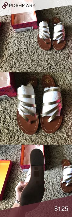 Tory Burch flat sandals Worn once! Tory Burch Shoes Sandals