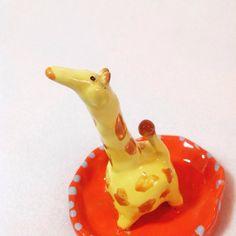 Giraffe Jewelry Dish   Stoneware Ring Holder by AmazingCaitlin