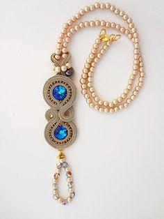 Pendentif long soutache avec perles par AnnaZukowska sur Etsy